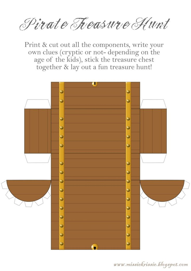 Great Freebies - images to print for a Pirate Treasure Hunt!  Treasure chest and clues.  Great free printable! Treasure Hunt Time - great for Cub Scouts.
