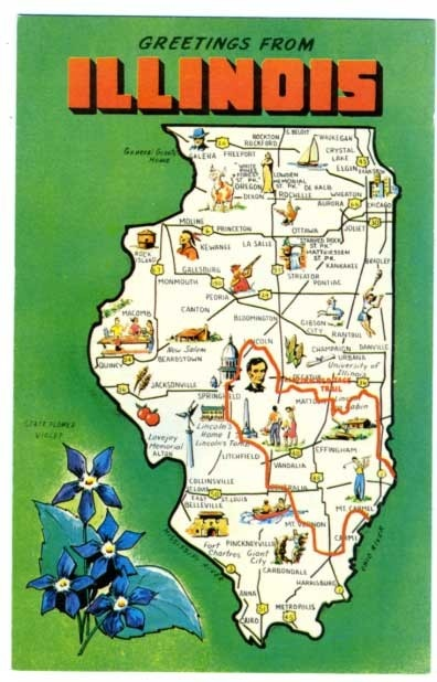 Best Postcard Maps Images On Pinterest States United - Us map with points of interest