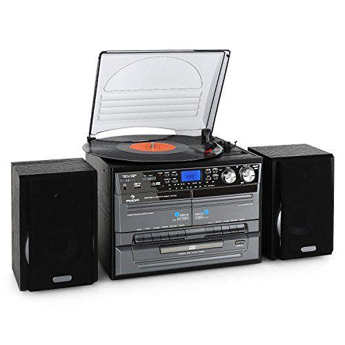 auna Chaîne hifi numérique avec lecteur vinyle et double platine cassette avec fonction enregistrement (double K7, lecteur CD USB SD, tuner…