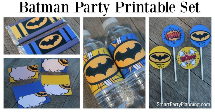 If you are going to organize a Batman party, and you need some DIY decorations, then this set of party printables will be perfect for you. The set has downloadable food tent labels, cupcake toppers, water / soda bottle labels and Hershey bar wrappers. You can also use the Hershey bar wrappers as party favors, therefore combining party decoration with favor gifts. These batman printables will be perfect for all those little superheroes.