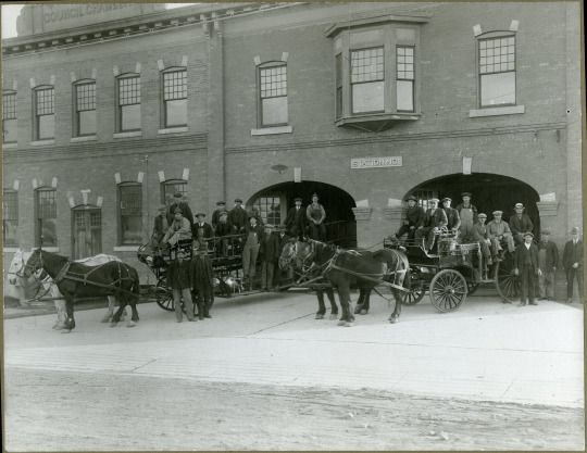 The Red Deer Fire Department in front of the old City Hall/Fire Hall in 1921.