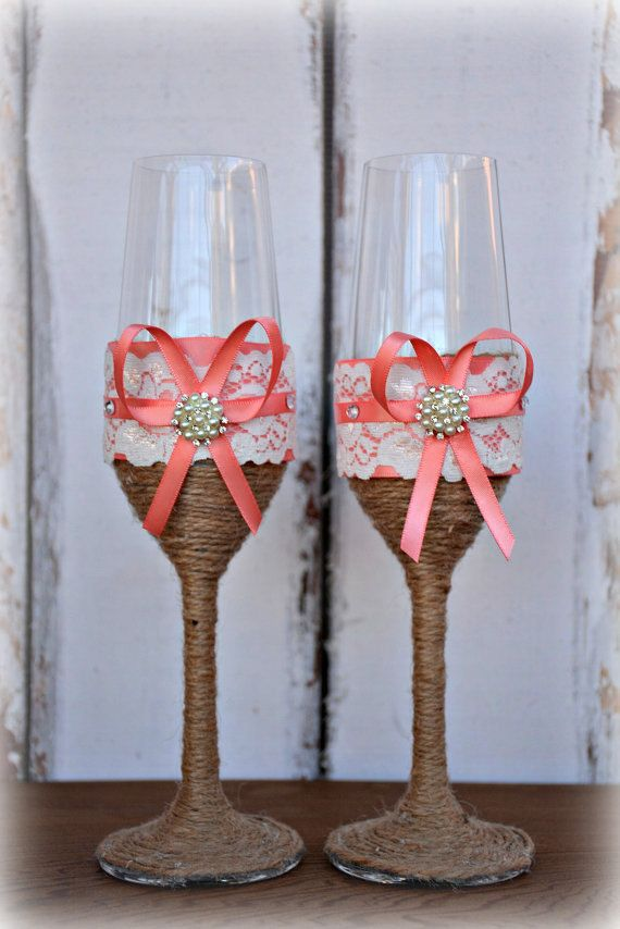 Coral Wedding Champagne Glasses Bride Groom by CLEOCLASSICDESIGNS