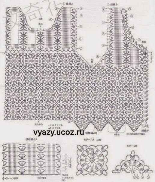 Diagram om te gebruiken bij het haken van een Ibiza style hesje