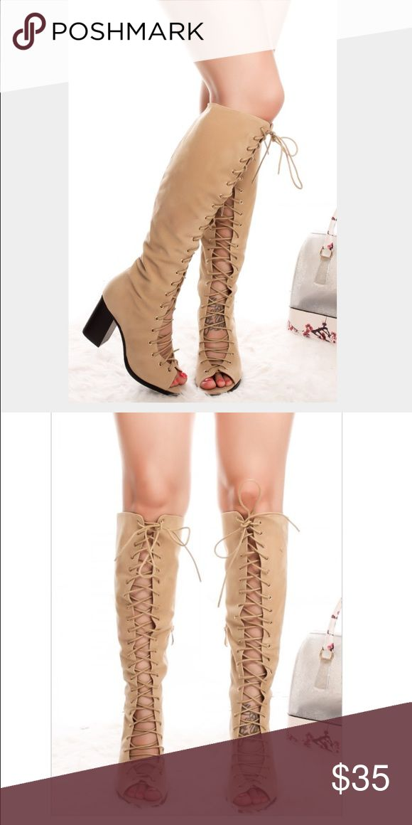 New Women's Sexy Faux Suede Knee High Boots Shoes New Women's Faux Suede Knee High Boots   Size 5.5 Faux Suede  Knee High  Chunky Black Heel, 3.25 inches high  Open toe with Lace Up design, side zipper At the Knee or a little below Knee Pictures 1-2 is modeled item, actual item is seen in 3-4th picture    ✔️Ships 2-3 business days ✔️Discount with bundles Shoes Lace Up Boots