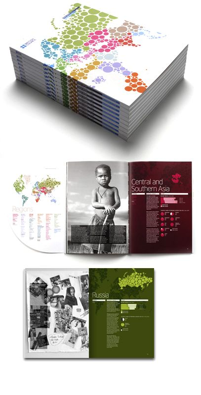 (bw photos, color type pages) British Council - Annual Report design