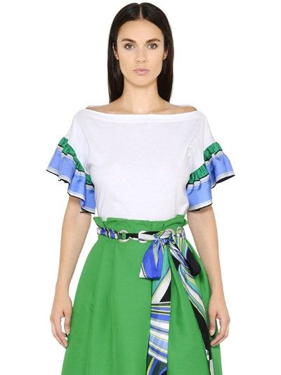 EMILIO PUCCI COTTON JERSEY & SILK TWILL TOP, WHITE. #emiliopucci #cloth #tops