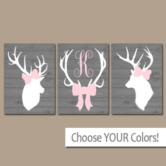GIRL DEER Wall Art Canvas or Prints Pink Gray Baby by TRMdesign
