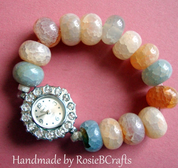 Lovely Rhinestone and Cracked Agate stretchy by RosieBCrafts, £15.00