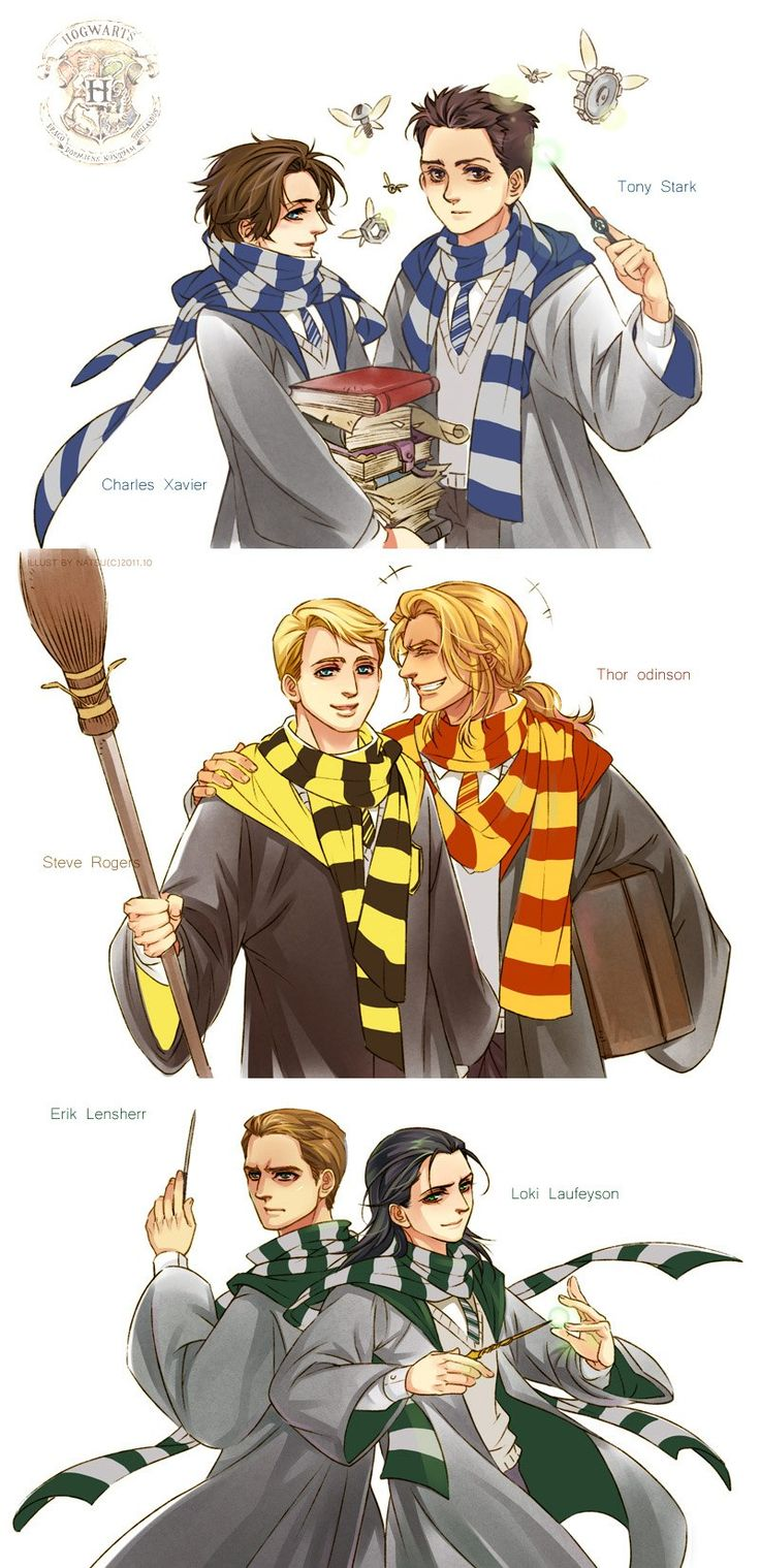 X-men Avengers at Hogwarts I LOVE that Captain America is a Hufflepuff. :D
