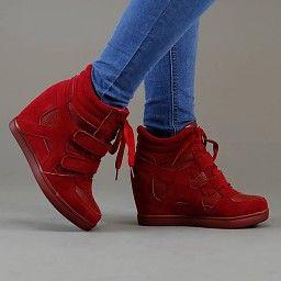 NEW2311 Trendy Rode Wedge Sneakers met Sleehak