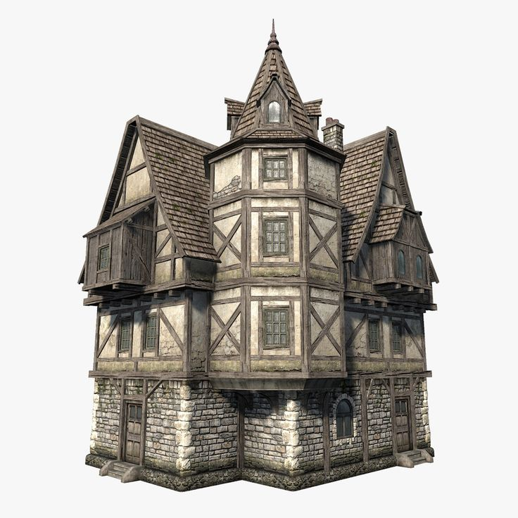 Low polygon game 3d model of fantasy medieval house i for Fantasy house plans