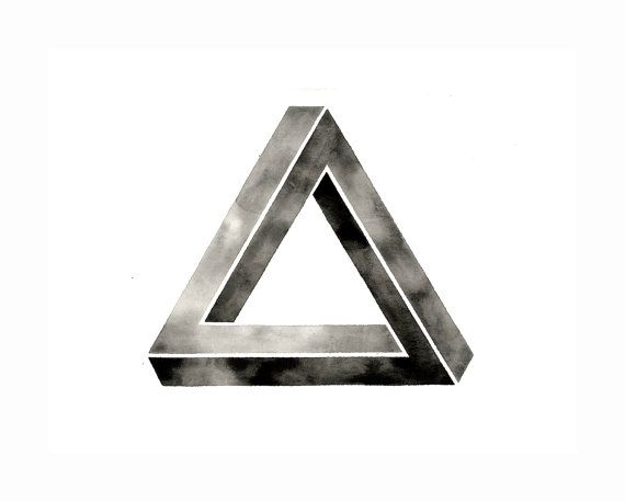 Watercolor Print  Impossible Triangle  Penrose  by GeometricInk, $5.00