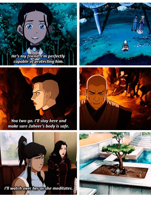 Legend of Korra/ Avatar the Last Airbender: lovers protecting their partners bodies while their in the spirit world