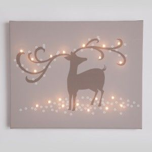 Illuminated Canvas - Reindeer - with 20 LED fairy lights (battery operated) £45.95