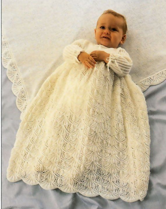9dedc5b67 Vintage Pattern Baby Knitted Christening Dress and Shawl PDF ...