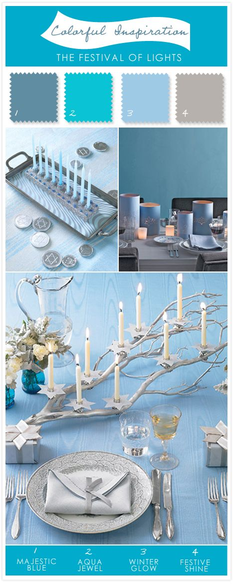 Hanukkah table setting inspiration + color scheme #holiday