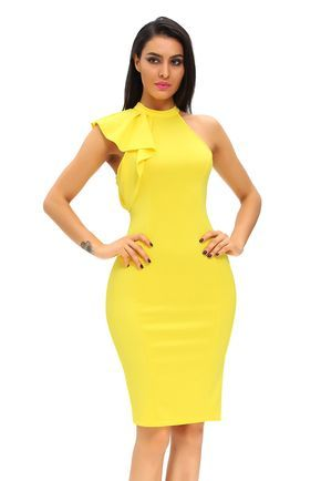 Midi Robe Jaune Robe Manches A Volants Pas Cher www.modebuy.com @Modebuy #Modebuy #Jaune #dress #Jaune #robes