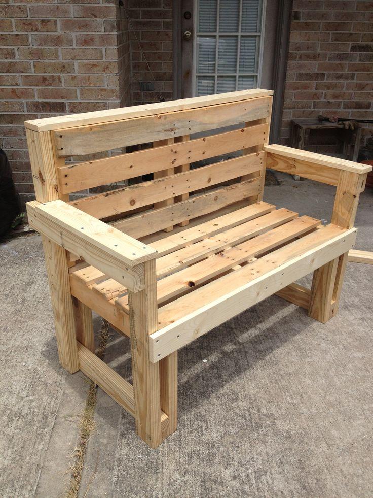 Pallet furniture bench seat - Muebles de terraza con palets ...