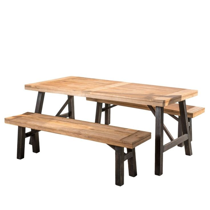 Add a touch of rustic, farmhouse-tinged charm to your space with this understated dining set, the perfect addition to your well-appointed entertainment space. Featuring a sturdy acacia wood design, this piece lends a durable and earthy aspect to your environment, while the clean-lined, picnic table-inspired look balances updated aesthetics and timeless appeal in your ensemble. Set it in the dining room on a faded ikat rug to lean into a Southwestern aesthetic in your space, then hang up a…