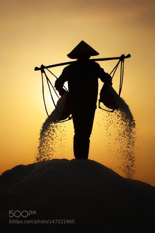 5M3_38634.jpg by YanLerval  sunrise hat salt fields hill photography photographer worker backlit professional Vietnam Nha Trang