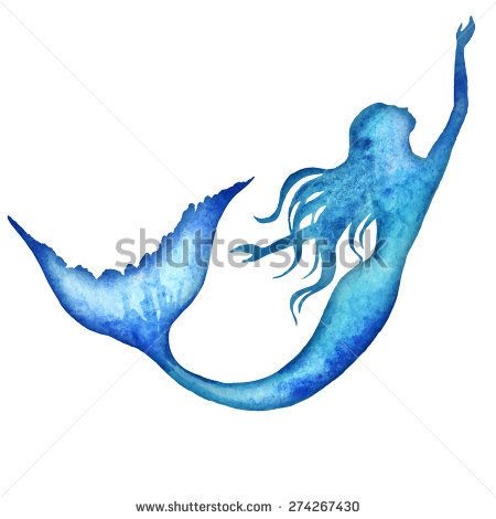 mermaid watercolor vector silhouette illustration