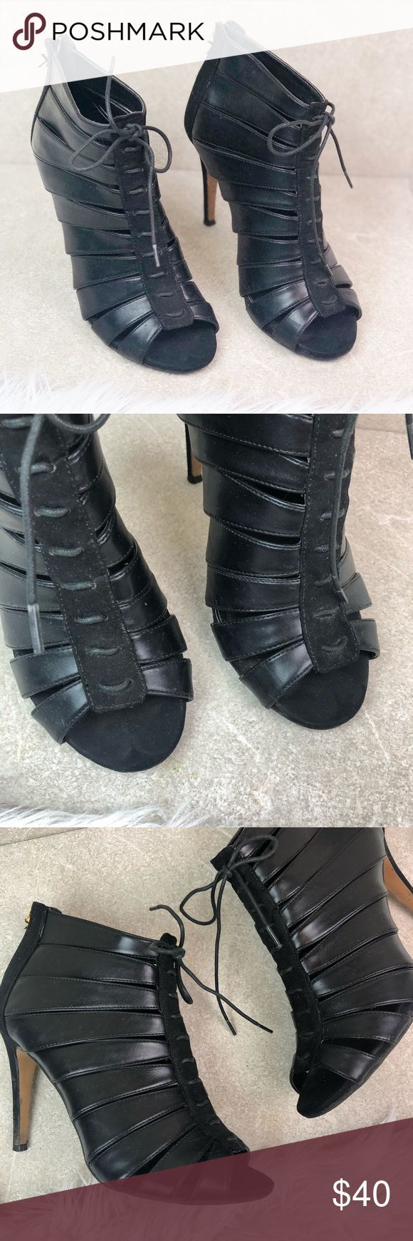 Kardashian Kollection Peep Toe Ankle Booties ⦁ Features: Black Leather and sue