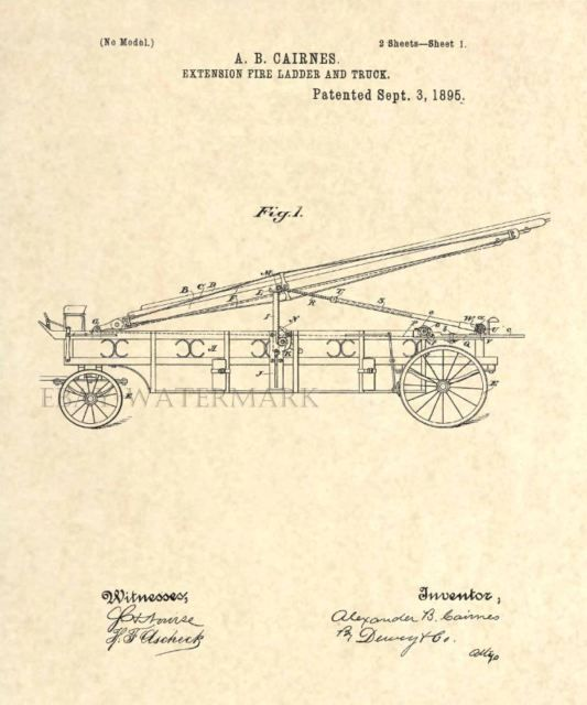 Official FIRST Fire Truck US Patent Art Print - Vintage 1895 Cairnes Engine 11   eBay #patentart