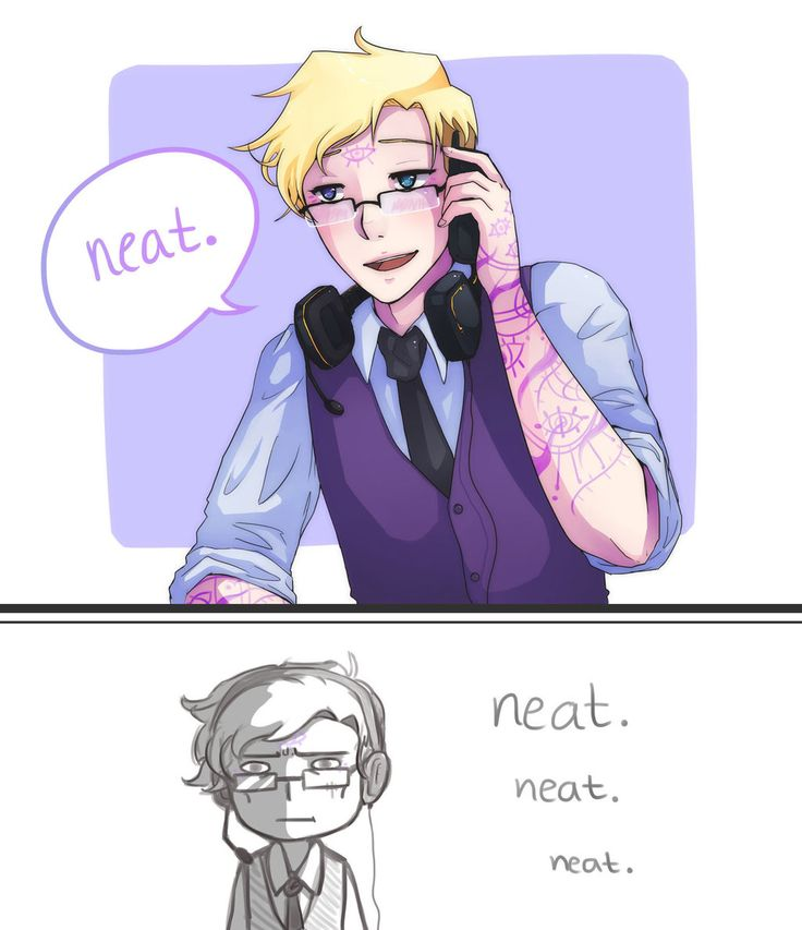 """...But I didn't say that. I just said -- oh, this is bad -- I just said, ""Neat!"" Ugh! How embarrassing!"" 'Neat' by majigoma.deviantart.com"