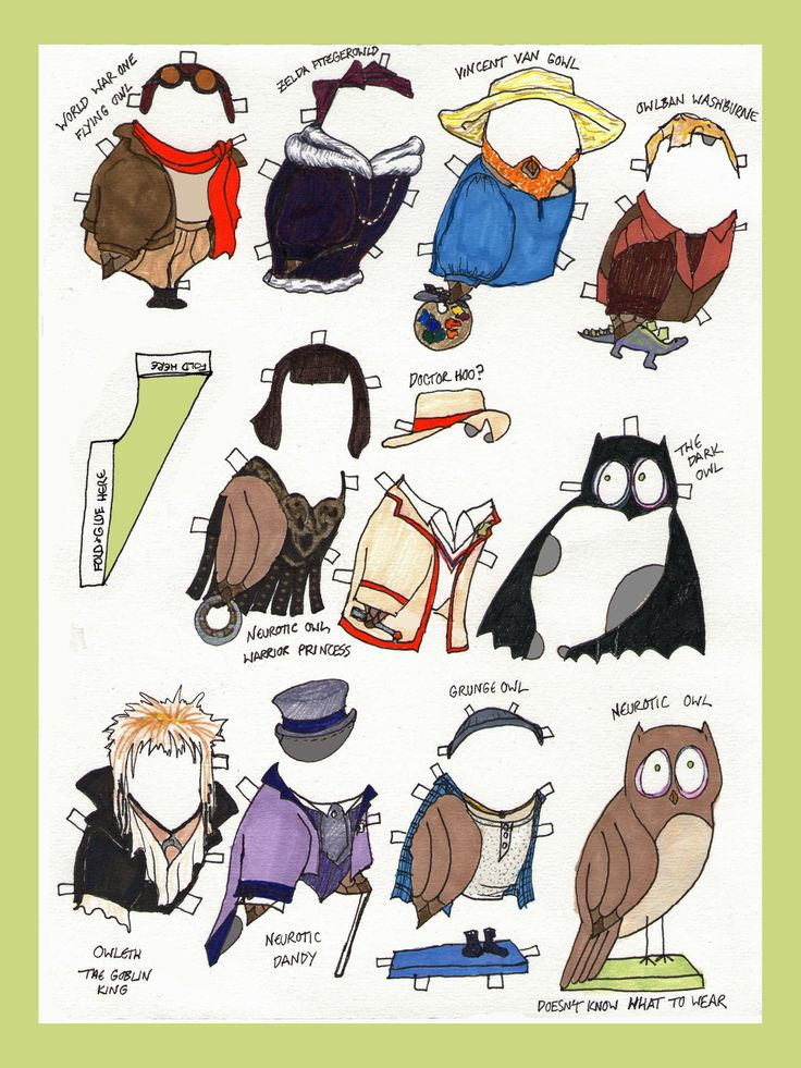 owl paper doll