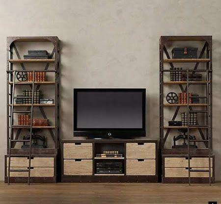 muebles reciclados de madera y metal para estilo industrial e incluso queda genial en la