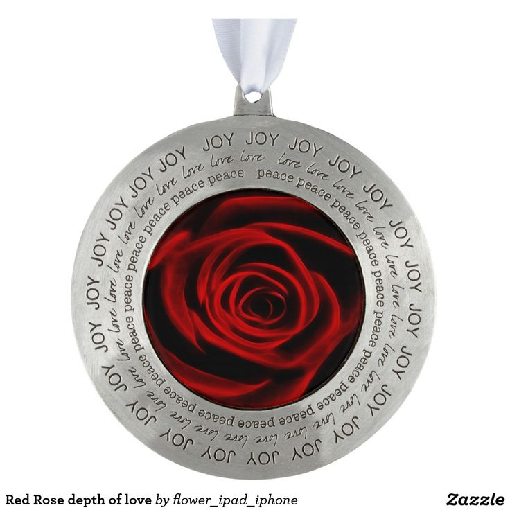 Red Rose depth of love Round Pewter Christmas Ornament