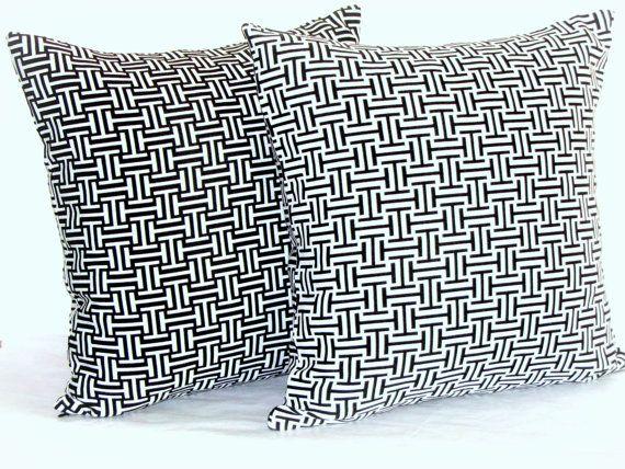 Lattice pillow cover  20x20 18x18 Black cream cushion by SABDECO