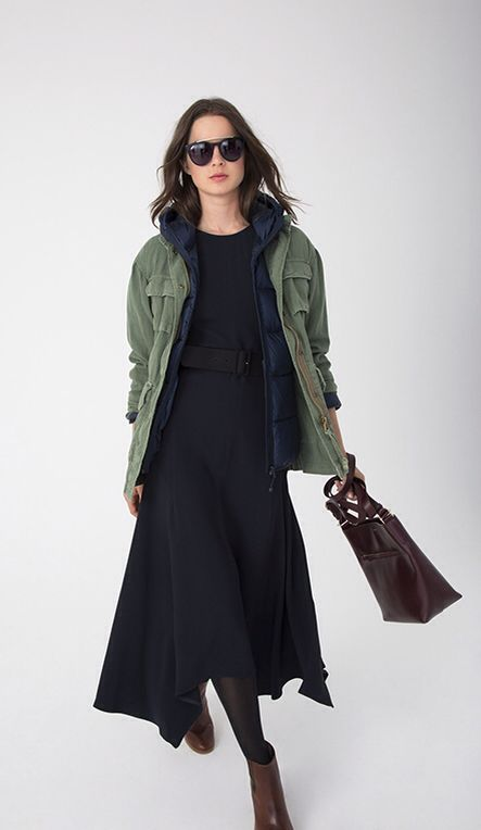 Nili Lotan military jacket, Joe Fresh hooded puffer jacket, Stella MacCartney dress.
