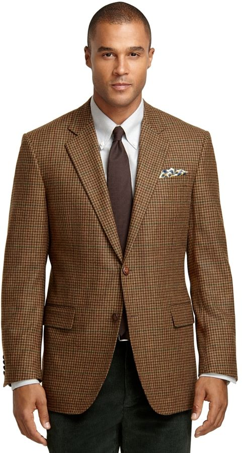 $748, Brooks Brothers Madison Fit Brown Check With Deco Sport Coat. Sold by Brooks Brothers. Click for more info: https://lookastic.com/men/shop_items/159929/redirect