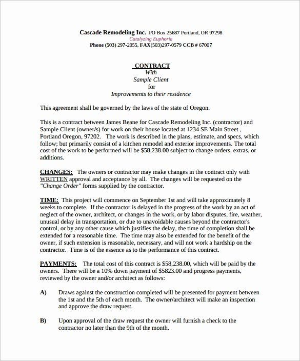 Free Remodeling Contract Template In 2020 Contract Template