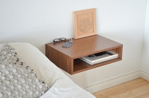 Floating end table set nightstands, solid walnut by tealandgold.