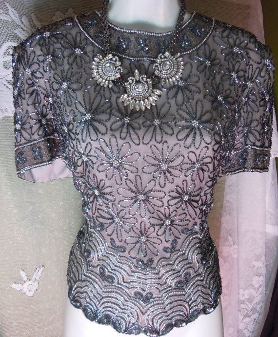 Silver beaded blouse vintage silk top flapper by vintageopulence: