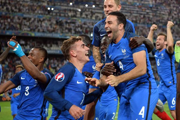 Euro 2016 host, France (Antoine Griezmann) scored twice to knock-out World Champions Germany ou...