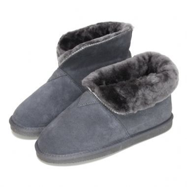 Deluxe Ladies 'Sarah' Sheepskin Slipper Boots with Folding Cuff - Grey