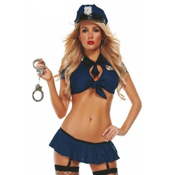 """SEXY POLICE COP OFFICER NAUGHTY Halloween Costume BRAND NEW WITH TAGS  SEXY POLICE COP OFFICER NAUGHTY Halloween Fantasy Cosplay Costume M/L  This sexy bedroom costume features a blue crop top with front tie, matching panty skirt with garters, blue police hat headpiece and handcuffs. (Stockings not included.)  M/L fits sizes 8-12 Bust: 34"""" - 38"""", Waist: 25"""" - 29"""", Hips: 36"""" - 40"""" Starline Dresses"""