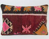 16x24 kilim pillow red outdoor pillow lumbar pillow cover maroon sofa pillow burgundy rug pillow burlap pillow case pink kilim cushion 28585