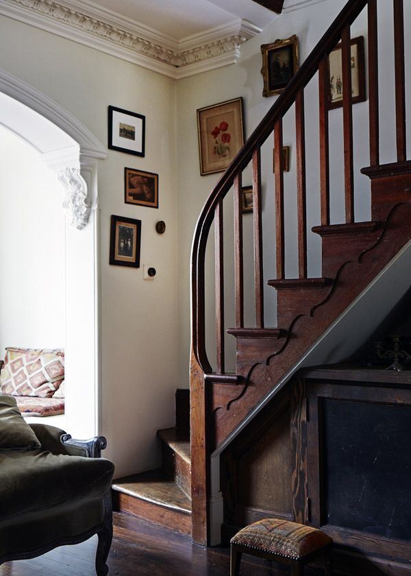 ..Curved wood staircase in living room...HAVE WANTED ONE OF THESE SINCE CHILDHOOD.  My grandma's farmhouse had one that led up to a bright sunny room