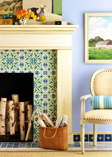 Tile Style  Frame a colorful tile surround with a neutral or natural-finish mantel to make the hearth the focal point of the room.