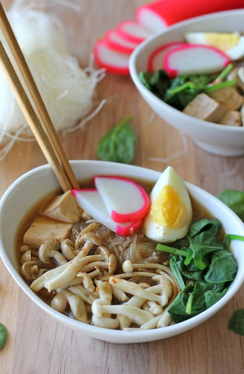 Miso Soup with Vermicelli, Mushrooms and Tofu #SundaySupper - Damn Delicious