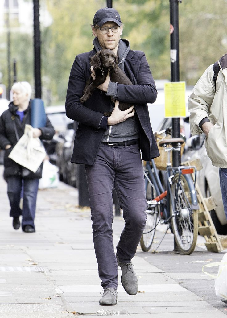 Tom Hiddleston seen cradling a puppy while out on a walk in London on November 9, 2017. Source: Torrilla (https://m.weibo.cn/status/4172353371797575#&gid=1&pid=1 )