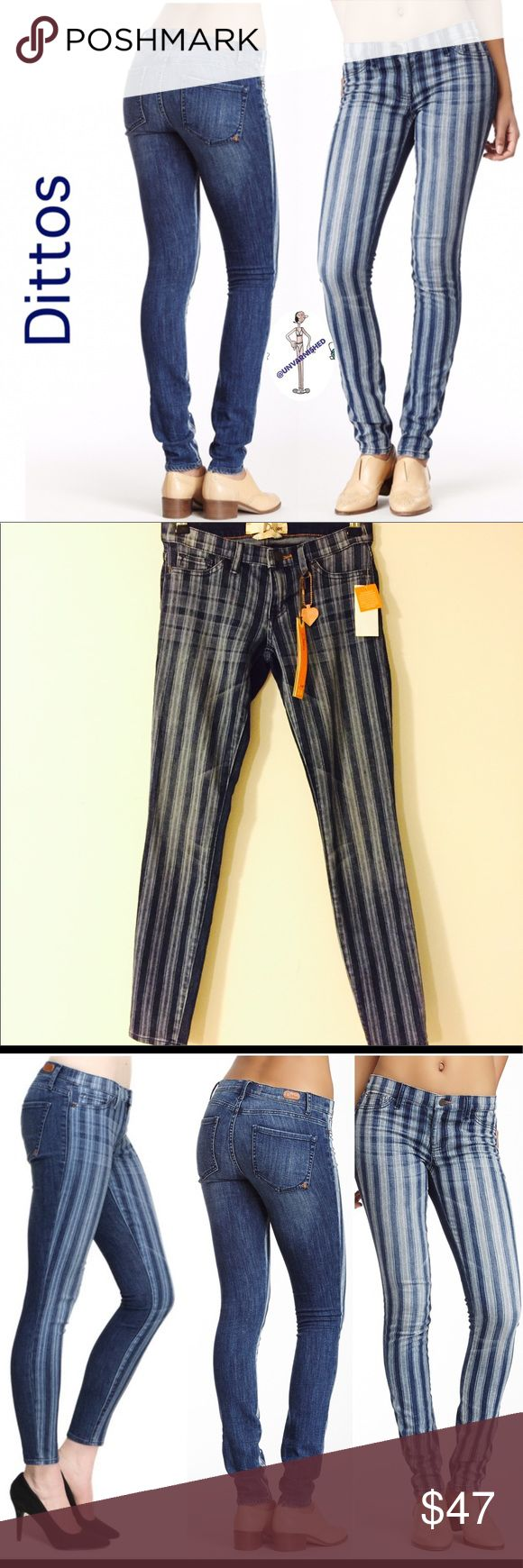 """Dittos Jessica Discharge Jegging Dittos Jessica Striped Low Rise Jegging  - Zip fly with button closure - 2 faux front pockets with coin pocket - 2 back patch pockets - Low rise - Skinny leg - Striped front - Approx. 7.5"""" rise, 32"""" inseam - Imported - 69% cotton, 30% polyester, 1% spandex - Machine wash. Per maker, fits true to size -  NO OFFERS Dittos Jeans Skinny"""