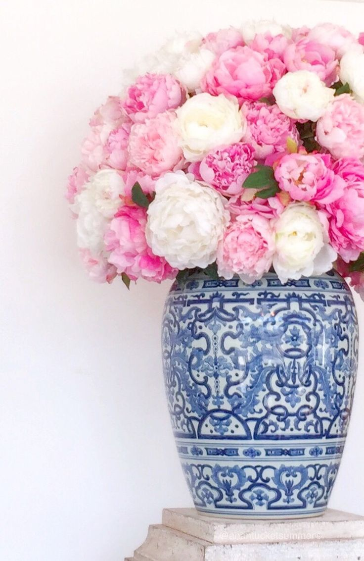 504 best flowers images on pinterest landscaping decks and dreams chinoiserie chic pink blue white flowers in a vasevase mightylinksfo