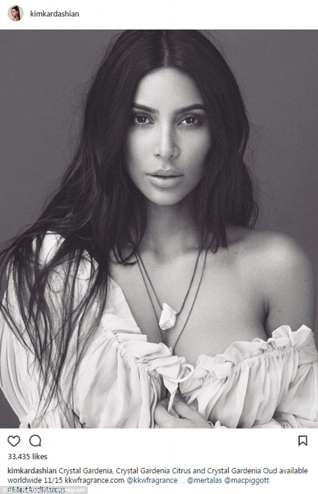 Hot stuff: Kim Kardashian has a new collection of fragrances set for release on November 15. To promote the scents, the 37-year-old siren shared an arresting image to Instagram on Friday