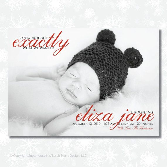 Christmas Birth Announcement   Santa Brought   by sugarhouseink, $15.00