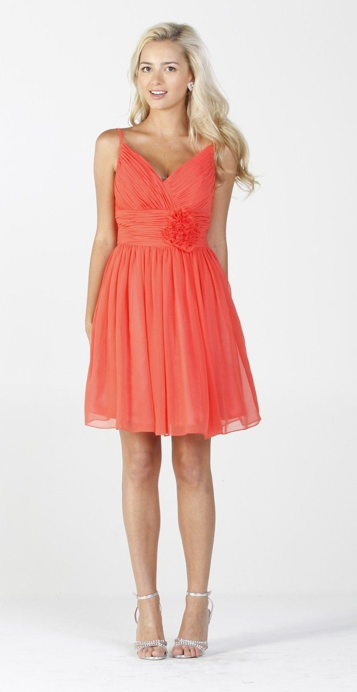 93 best coral wedding images on pinterest coral for Coral bridesmaid dresses for beach wedding